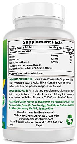 Best Naturals Horse Chestnut extract 300 mg 180 Tablets