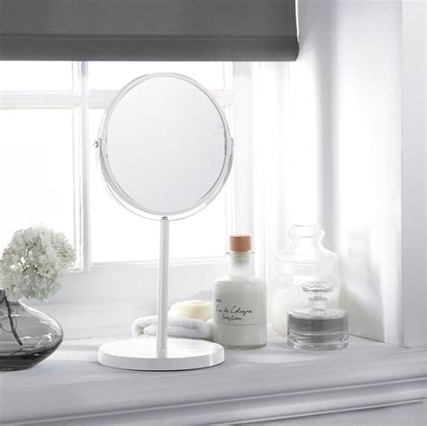 Large Cosmetic Mirror on Stand - White | Mirrors - B&M