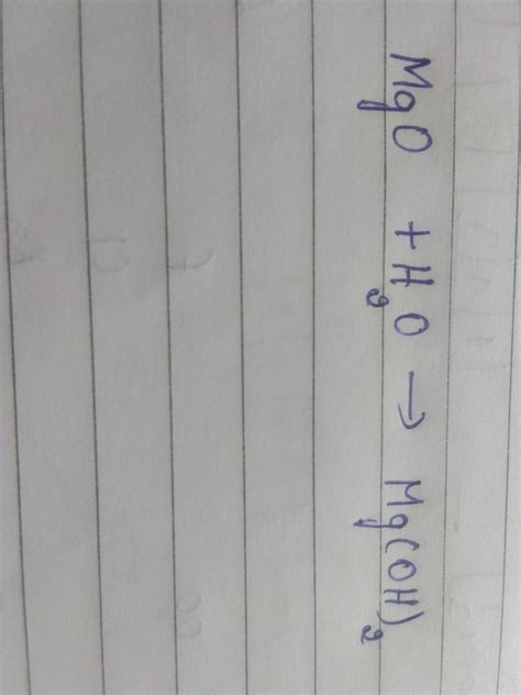 What is the word equation of reaction between magnesium