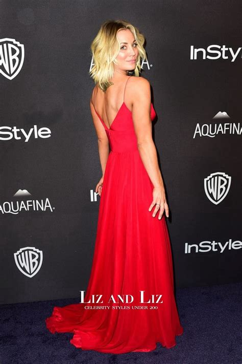 Kaley Cuoco Red Celebrity Prom Dress Golden Globes Party